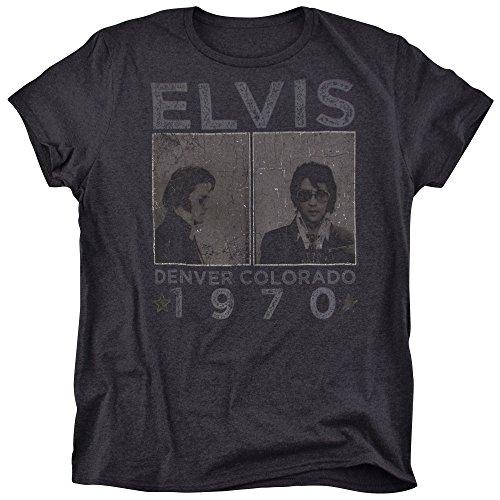 Elvis Presley 1970 Denver Colorado Mug Shot Rock 'n' Roll Heather T Shirt for Men and Women (X-Large) Black ()