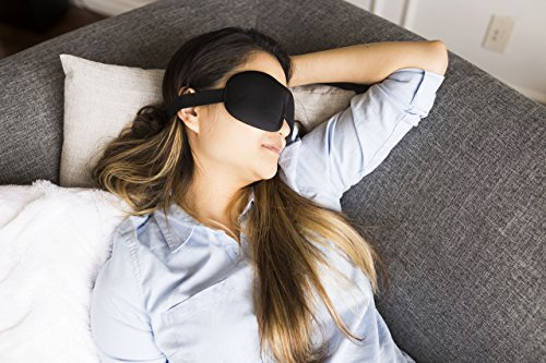 At Ease Sleep Mask Contours To Fit Your Face| Comfortable & Super Soft Eye Mask! | Adjustable Strap | Works With Every Nap Position | Ultimate Sleeping Aid | Blocks Light & No Noise Earplugs! Black