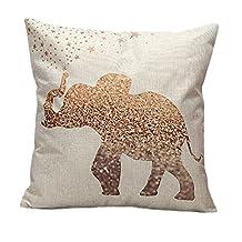 "Home Bed Sofa Car Decorative Vintage Cotton Linen Square Waist Throw Pillow Case 17.7""x17.7"" Cushion Cover Pillowcase (Elephant)"