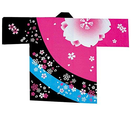 【축제 · 어린이 해피]  일본전통복 (한텐) 실크 프린트 아이 袢天 벚꽃 무늬 핑크 / 블랙 벨트 · 수건있는 D5999