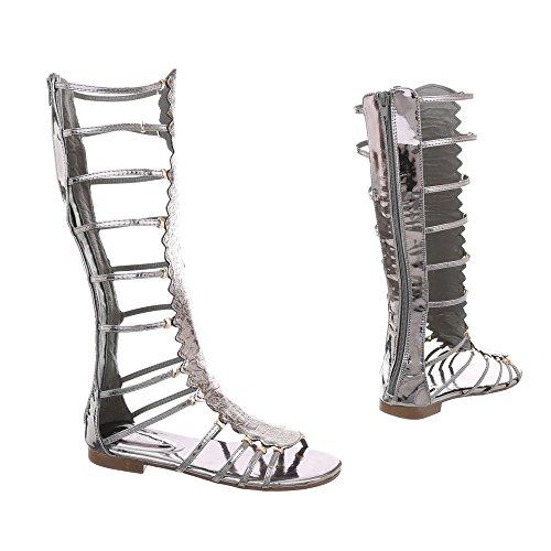 Ital-Design Zehentrenner Damenschuhe Blockabsatz Reißverschluss Sandalen Sandaletten Grau Silber JC-174