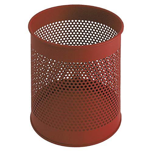 V-Part Metal Waste Paper Bin 15 Litre Perforated Red ()