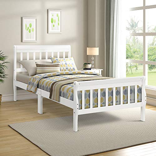 (Wood Platform Bed Twin Bed with Headboard/Footboard/Wood Slat Support for Bedroom (Pure White))