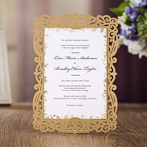 (VEMELKA Vintage Wedding Invitations Cards with Laser Cut Gold Glitter Lace for Bridal Shower,Engagement,Anniversary or Other Event Ideas (1 Piece))