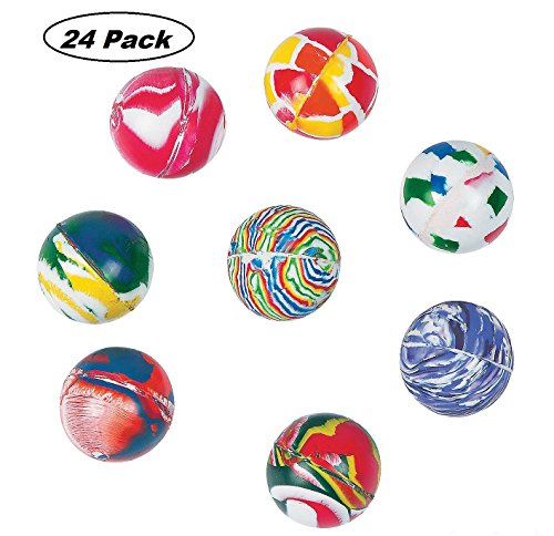 Marble Bouncing Balls - Pack Of 24 - 1.25 Inches Assorted Colors - High Bouncing Balls - For Kids Boys And Girls Great Party Favors, Bag Stuffers, Fun, Toy, Gift, Prize, Piñata Fillers - By Kidsco Best Bouncy Ball