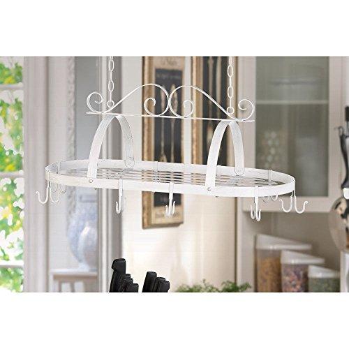 ghp 31 3 8 x 15 7 8 x 11 7 8 white metal lovely hanging kitchen utensils holder pot racks. Black Bedroom Furniture Sets. Home Design Ideas