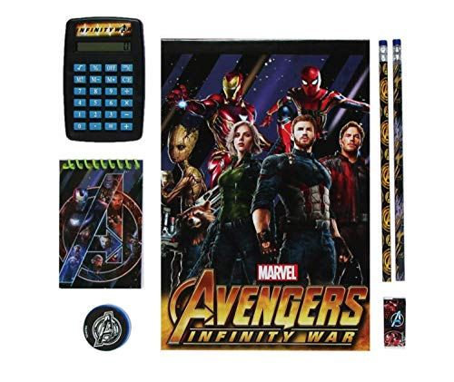 Tri-coastal Design Back to School Boys Character Stationary 7 Piece Calculator, Notepad, Pencils, Eraser & Pencil Sharpener (Avengers Justice League 7 Piece Calculator Set) by Tri-coastal Design