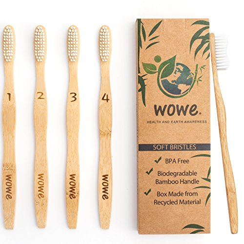 Wowe Natural Organic Bamboo Toothbrush Eco-Friendly Wood, Ergonomic, Soft BPA Free Bristles, Pack of ()