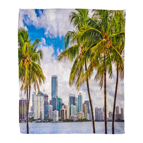 Golee Throw Blanket Beach Miami Florida USA Tropical Downtown Skyline City Palm Buildings 60x80 Inches Warm Fuzzy Soft Blanket for Bed Sofa ()