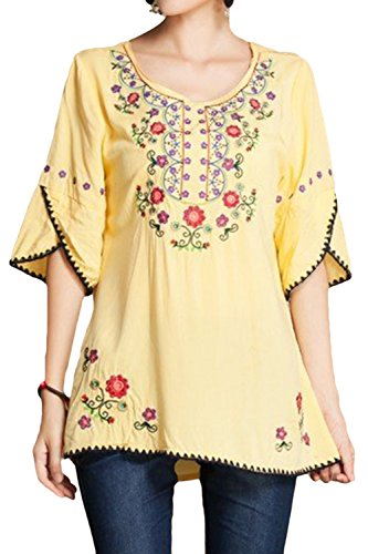 Asher Girls Embroidered Peasant Tops Mexican Bohemian Blouses (One Size, Yellow) ()