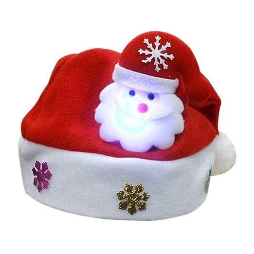 1a136d754ecee Amazon.com  ForHe Santa Hats - Christmas Novelty Hats - Blinking Santa Hat  - LED Blinking Lights Holiday Hats for Adults  Clothing