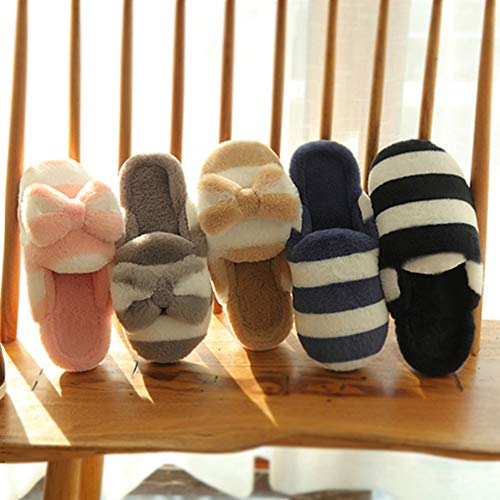 LINENLUX Rabbit Bow Fur Khaki House Shoes for Slippers knot Home with Winter Knot bow slippers Women TTwrndqXxa