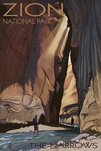 Zion National Park Usa Framed (Zion National Park - The Narrows (24x36 Giclee Gallery Print, Wall Decor Travel Poster))