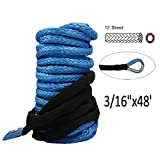 Synthetic Winch Rope - 3/16'' x 48' Winch Cable Blue Winch Rope 6000+ LBs with Sheath for atvs Winches ATV UTV SUV Truck Boat Ramsey Synthetic Winch Rope