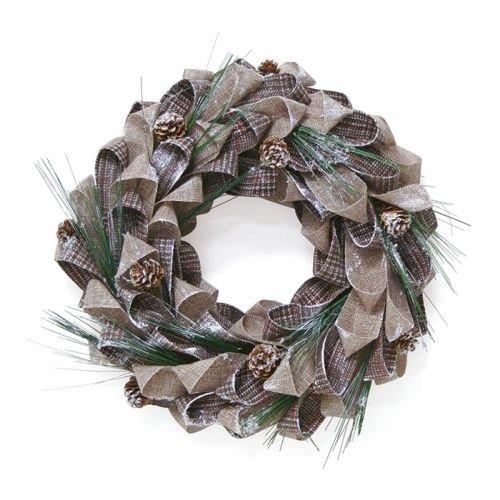 Burton & Burton Wreath 15' Brown/Beige Plaid