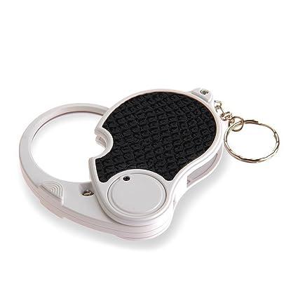 TOOGOO(R) 5 Lupa comercial Vidrios de aumento con Lampara LED Lupa de bolsillo Plegable Portatil Llavero