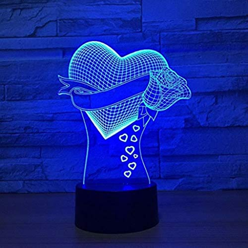 KL-JZ Night Light 3D Heart Led Rose Flowers 7 Color Change, Remote Touch Table Lamp Wedding Party Atmosphere Gift Night Light Home Decoration Lighting (Jz Rose)