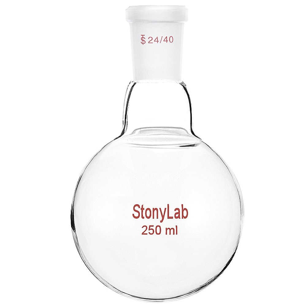 StonyLab 250ml Glass Single Neck Round Bottom Flask RBF, with 24/40 Standard Taper Outer Joint