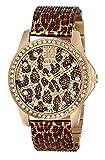 GUESS Women's U0333L1 Animal Print Mesh Gold-Tone Watch