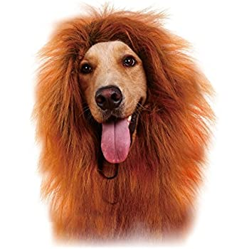 GABOSS LLL30 Lion Mane Costume, Lion Wig for Dog Large Pet Festival Party Fancy Hair Dog Clothes, Dark Brown