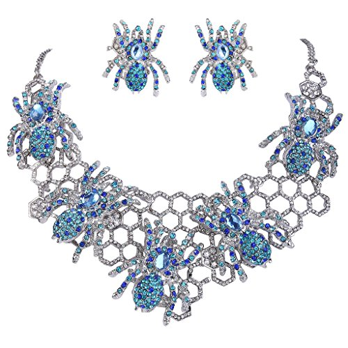 EVER FAITH Halloween Spider Web Blue Austrian Crystal Necklace Earrings Set (Spiderweb Rhinestone Necklace)