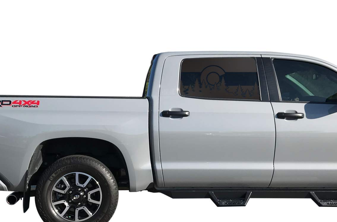 TC9.A Toyota Tundra Crew Max State of Colorado Forest Scene Pine Trees Flag Decals in Matte Black for side windows