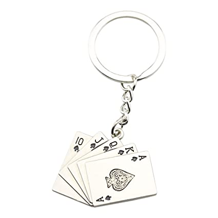 foy-mall Poker escalera de color llavero de metal moda ...