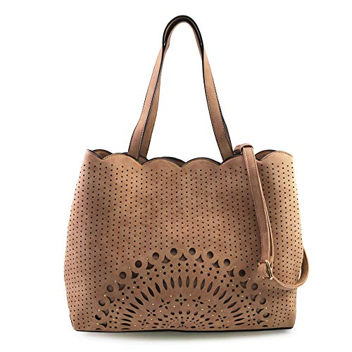 (VIOLET RAY MEDALLION PERF STUDDED TRIPLE COMP TOTE WITH SCALLOPED TRIM)