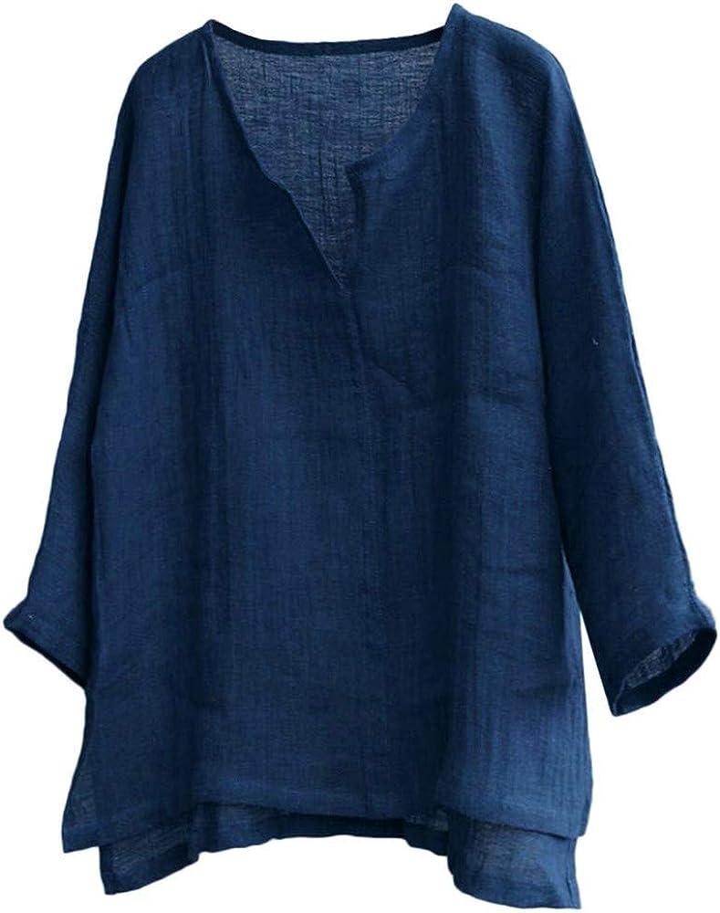 TUDUZ Camiseta Hombre Manga Larga Camisa Breve Respirable Confortable Top Algodón y Lino Color Sólido Ropa Otoño (Armada, M): Amazon.es: Ropa y accesorios