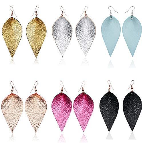 SEVENSTONE 6 Pcs Petal Leather Earrings Teardrop Leaf Drop Lightweight Antique Fashion Earrings For Women
