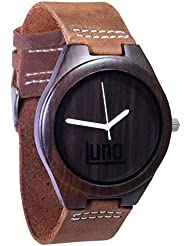 Luno Wear Mens Wood Watch, Wood and Genuine Leather, The Orca