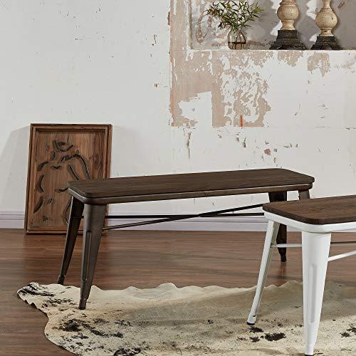 MyChicHome Raleigh, Rustic Industrial, Metal Body, Wooden Seat, Bench (Entryway, Indoor, Outdoor, Patio, Garden) in Gunmetal by MyChicHome (Image #5)