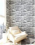 "HaokHome 454003 3D Grey Brick Wallpaper Faux Stone Wallpaper Roll 20.8"" x 393.7"" Room Wall Decoration"
