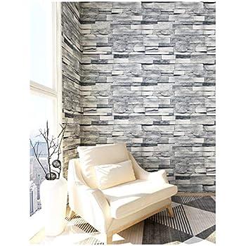 Amazon.com: HaokHome 454003 3D Grey Brick Wallpaper Faux ...