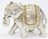 Feng Shui Large Light Gold Elegant Elephant Trunk Statue Wealth Lucky Figurine Home Decor Gift US Seller (Light Gold Elephant)