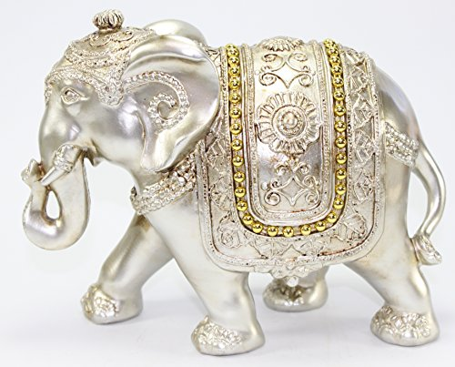Feng Shui Large Light Gold Elegant Elephant Trunk Statue Wealth Lucky Figurine Home Decor Gift US Seller (Light Gold Elephant) by We pay your sales tax