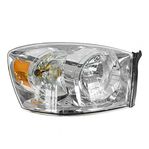 Headlight w/Chrome Bezel RH Right Passenger for 06-08 Dodge Ram Pickup Truck