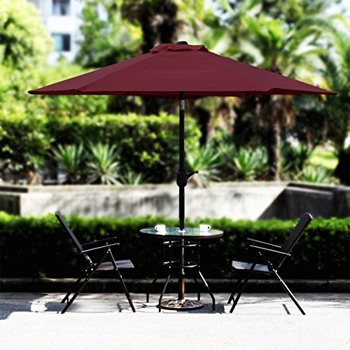 Blissun 7.5 ft Patio Umbrella, Yard Umbrella Push Button Tilt Crank(Red) by Blissun (Image #4)
