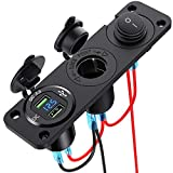 [Upgraded Version] Dual QC3.0 Cigarette Lighter Socket Splitter, CHGeek 250W Waterproof 12V Dual USB Charger Power Adapter Outlet with Aluminum Dual USB Ports and LED Display for Car Boat Marine,etc