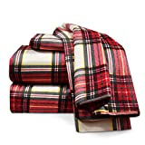Heavyweight 100% Cotton Flannel Sheet Set, Queen - Red Plaid - Luxurious Soft Hypoallergenic and Very Silky Bedding Fabric Enjoy A Comfortable Sleeping Experience, By Nestl Bedding