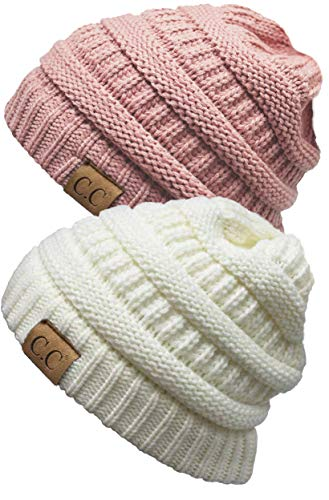 H-6020a-2-2571 Solid Beanie Bundle - Ivory & Indi Pink (2 Pack) (Cc Feather)