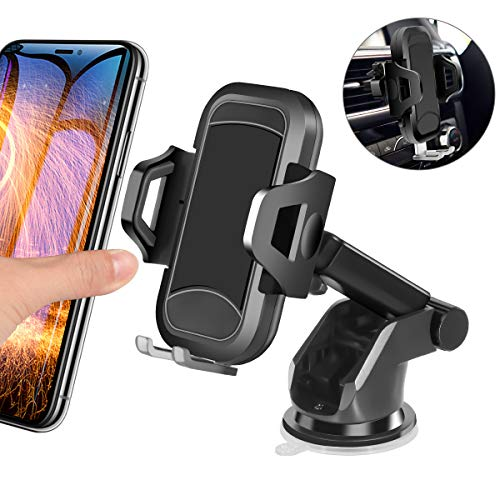 Car Phone Mount, HENKUR Cell Phone Holder for Car Dashboard Windshield Air Vent, Upgraded Vehicle Phone Stand Strong Suction Compatible with iPhone X Xs Max XR 8 7 6s Plus SE, Galaxy S7,8,9,10 (Black)