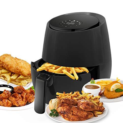 Kazila Chef Air Fryer Large Capacity 3.7 Quart for Healthy Oil Free Cooking Non-Stick Dishwasher Safe Basket,Black