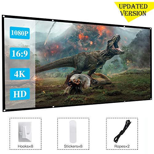 [Updated Version]120 Inch Projector Movie Screen, ASINNO Portable Folding Indoor Outdoor 4K HD 16:9 Movie Projection Screen for Meeting/Home/Cinema/Theater /Presentation by ASINNO