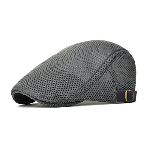 VOBOOM Men Breathable Mesh Summer Hat Adjustable newsboy Beret IVY Cap Cabbie Flat Cap MZ124 - Hat 7.5 Size