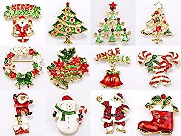 Amazon.com: ILOVEDIY Christmas Tree Brooches and Pins in Bulk for ...