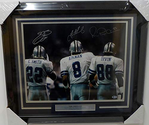 Dallas Cowboys Triplets Autographed Framed 16x20 Photo With 3 Signatures Including Troy Aikman, Emmitt Smith & Michael Irvin Beckett BAS -
