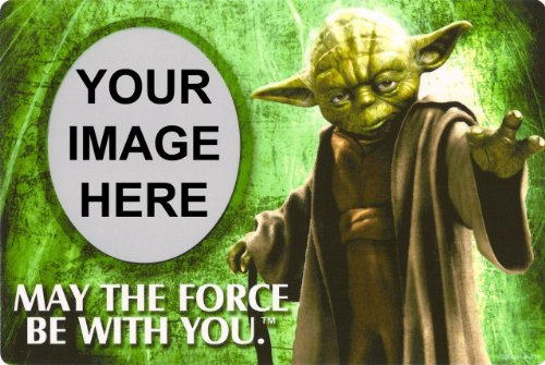 1/4 Sheet ~ Star Wars Yoda Photo Frame Birthday ~ Edible Image Cake/Cupcake Topper!!! ()
