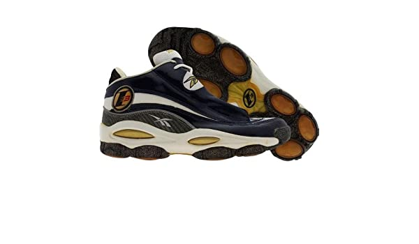 22c76a7b7a2694 Reebok Mens The Answer Dmx 10 Allen Iverson Rbk Navy Black White Gold  Midtop Shoes