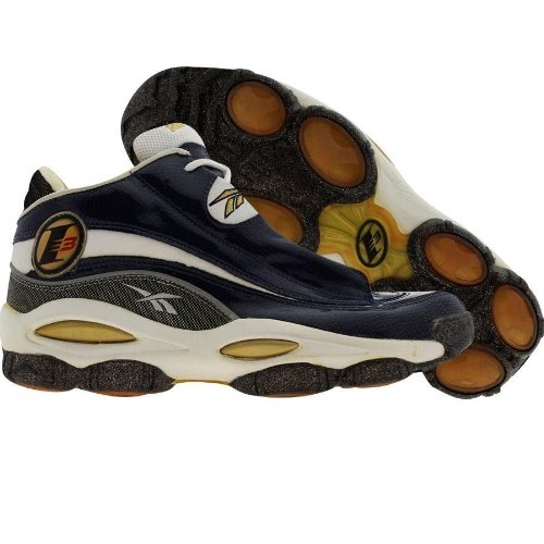 65ffa9177b74 Reebok Mens The Answer Dmx 10 Allen Iverson Rbk Navy Black White Gold  Midtop Shoes
